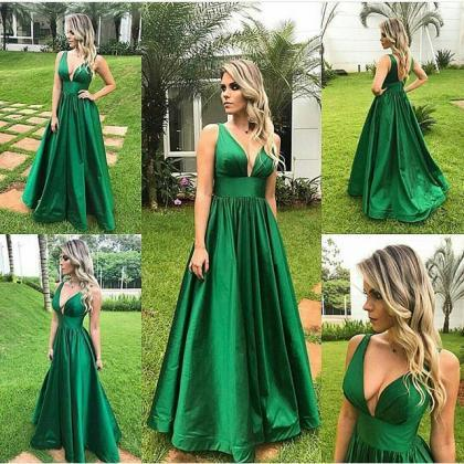 Green Satin Plunge V Sleeveless Flo..