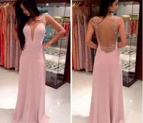 Pink Prom Dresses, V-Neck Prom Dresses, Backless Prom Dresses, Strap Prom Dresses, Floor-Length Prom Dresses, Elegant Prom Dresses, Evening Dresses, Party Dresses, Custom Dresses