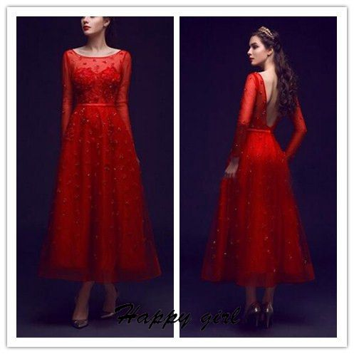 Evening Dress, Amazing Evening Dress, Scoop Evening Dress, Long Sleeve Evening Dress, Flowers Evening Dress, Ankle-Length Evening Dress, Hot Sale Wedding Dress