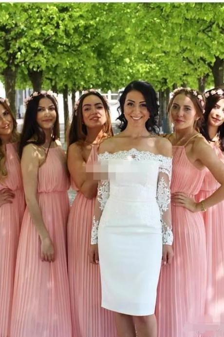 Bridesmaid Dress, Halter Bridesmaid Dress, Long Bridesmaid Dress, Sleeveless Bridesmaid Dress, Chiffon Bridesmaid Dress, A-line Bridesmaid Dress, Pleated Bridesmaid Dress, Cheap Bridesmaid Dress