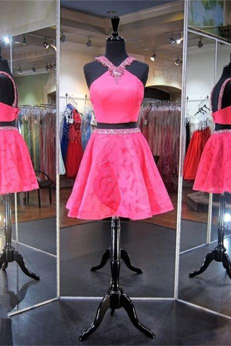Homecoming Dress, Halter Homecoming Dress, Beading Homecoming Dress, Two-piece Homecoming Dress, A-line Homecoming Dress, Open Back Homecoming Dress, Prom Dress, Short Prom Dress, Sleeveless Prom Dress, Two-piece Prom Dress, Graduation Dress, Short Graduation Dress, Two-piece Graduation Dress