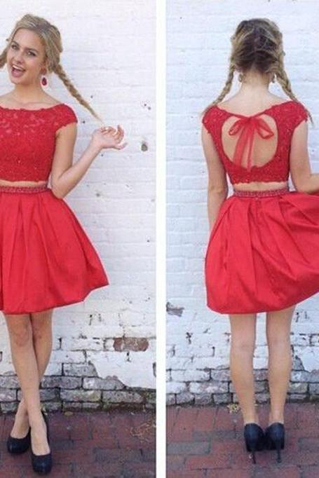 Homecoming Dress, Two-piece Homecoming Dress, Short Homecoming Dress, Cap Sleeve Homecoming Dress, Mini Homecoming Dress, Open Back Homing Dress, Graduation Dress, Short Graduation Dress, Two-piece Homecoming Dress