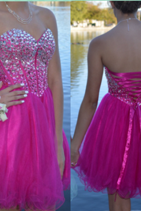 Homecoming Dress, Sweetheart Homecoming Dress, Corset Homecoming Dress, Crystal Homecoming Dress, Ball Gown Homecoming Dress