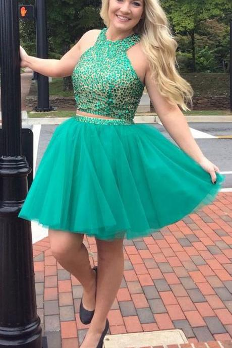 Homecoming Dress, Two-piece Homecoming Dress, Short Homecoming Dress, Halter Homecoming Dress, Beading Homecoming Dress, Open Back Homecoming Dress, Mini Homecoming Dress