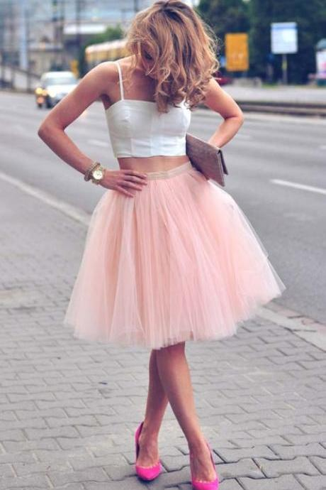 Charming Short Two-piece Spaghetti Straps Two-tone Tulle Prom Homecoming Dress