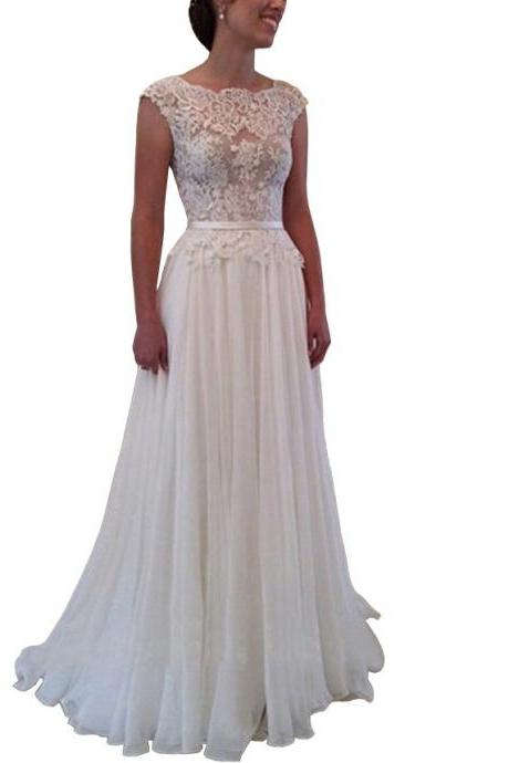 Cap Sleeve Backless Lace Appliques A-line Court Train Wedding Dress