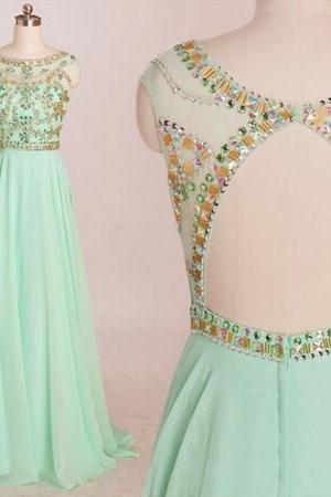Prom Dresses, Formal Prom Dress, New Prom Dresses, Elegant Prom Dresses, Beading Prom Dresses, Floor-Length Prom Dresses, Backless Prom Dresses, 2015 Prom Dresses, Scoop Prom Dresses, Dresses For Prom, Long Prom Dresses, Custom Prom Dresses