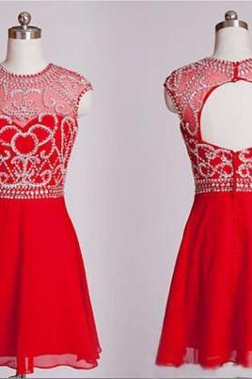Short Prom Dresses, Homecoming Dresses, A-Line Prom Dresses, Beading Prom Dresses, Red Prom Dresses, Short/Mini Prom Dresses, Backless Prom Dresses, Chiffon Prom Dresses, Custom Prom Dresses