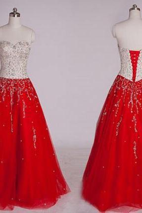 Sweetheart Prom Dresses, Lace-Up Prom Dresses, A-Line Prom Dresses, Floor-Length Prom Dresses, Beading Prom Dresses, Dresses For Prom, Custom Made
