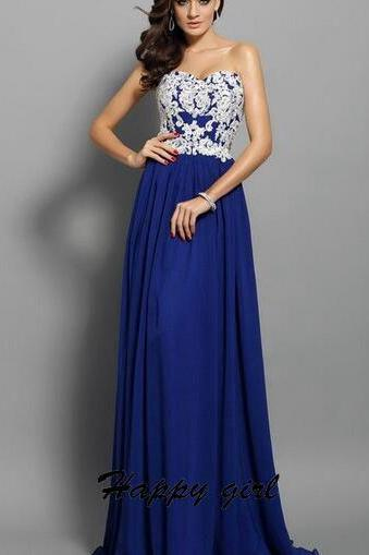 Simple Prom Dresses, Sweetheart Prom Dresses, A-Line Prom Dresses, Chiffon Prom Dresses, Royal Blue Dresses, Elegant Prom Dresses, Custom Dresses
