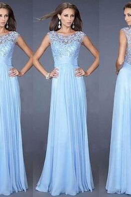 Sky Blue Prom Dresses, Applique Evening Dresses, A-Line Prom Dresses, Floor-Length Party Dresses, Cap Sleeve Dresses, Custom Dresses
