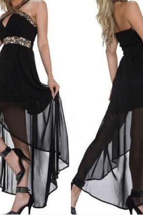 Cheap Prom Dress, Halter Prom Dress, Empire Prom Dress, Sexy Prom Dress, Short Front Long Back Prom Dress, Chiffon Prom Dress, Custom Dress