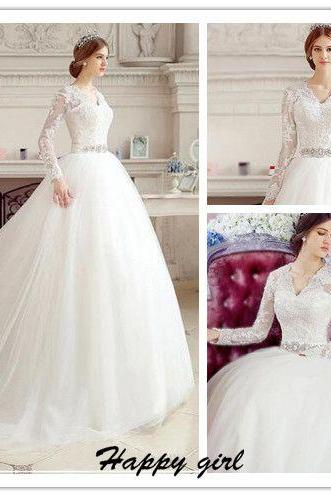 Wedding Dress, Puffy Wewdding Dress, A-Line Wedding Dress, Beaded Wedding Dress, Lace Wedding Dress, V-Neck Wedding Dress, Long Sleeve Wedding Dress