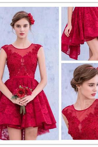 Custom Made Red Illusion Neckline Lace High Low Open Back Bridesmaid Dress