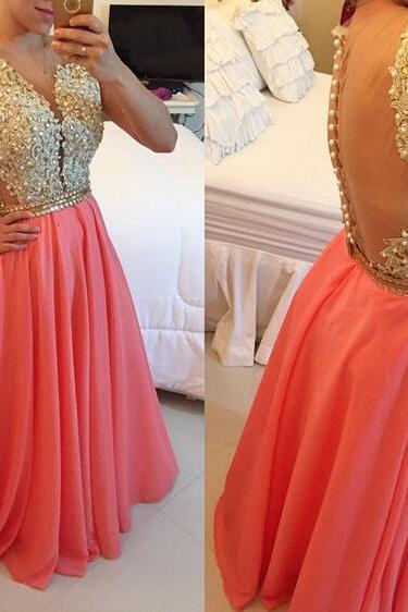 Prom Dress, New Arrival Prom Dress, A-Line Prom Dress, Chiffon Prom Dress with Beadings, Lace Prom Dress, Floor Length Prom Dress