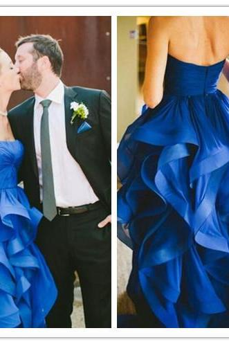 Royal Blue Strapless Straight Across Floor Length Ruffled Wedding Dress