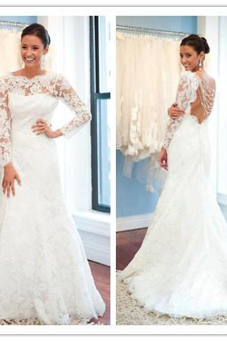 Wedding Dress, A-Line Wedding Dress, Lace Wedding Dress, Sweep Train Wedding Dress, Popular Wedding Dress, Open Back Wedding Dress, Plus Size Wedding Dress