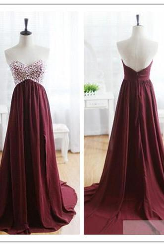 Evening Dress, Maroon Evening Dress, 2016 Evening Dress, Sweetheart Evening Dress, Beads Evening Dress, Wine Red Evening Gown with Long Train