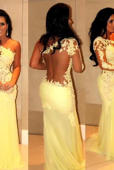 Prom Dress, Elegant Prom Dress, One-Shoulder Prom Dress, Long Sleeve Prom Dress, Applique Prom Dress, Sweep Train Prom Dress, 2016 Prom Dress