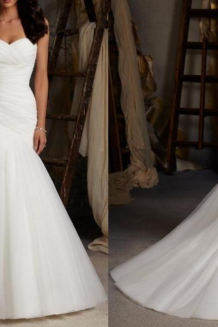 Tulle Sweetheart Floor Length Mermaid Wedding Dress Featuring Lace-Up Back