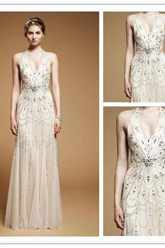 Wedding Dresses, Elegant Wedding Dresses, New Wedding Dresses, 2016 Wedding Dresses, Halter Wedding Dresses, Sleeveless Wedding Dresses, Beading Wedding Dresses, Crystal Wedding Dresses, Sheath Wedding Dresses, Floor-Length Wedding Dresses, Chiffon Wedding Dresses, Cheap Wedding Dresses, Fall Bridal Gowns, Hot Sale Wedding Dresses, High Quality Wedding Dresses, Custom Made Wedding Dresses