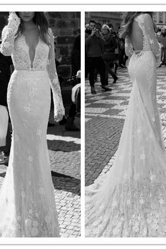 Wedding Dress, Sexy Wedding Dress, Plunging Neckline Wedding Dress, Long Sleeve Wedding Dress, Latest Wedding Dress, Lace Wedding Dress, Backless Wedding Dress, 2016 Bridal Gown, Custom Made Wedding Dress