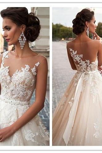 Floral Lace Appliqués Sweetheart Illusion Floor Length Tulle Wedding Gown Featuring Bow Accent Back and Train