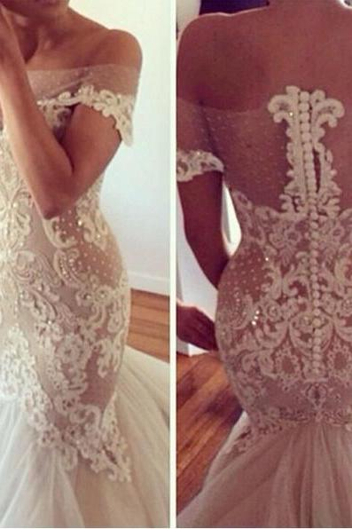 Lace Off-The-Shoulder Floor Length Tulle Mermaid Wedding Dress