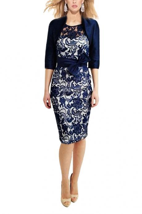 New Arrival Two- piece Knee-length Lace Sheath Mother of the Bride/Groom Dress with Jacket