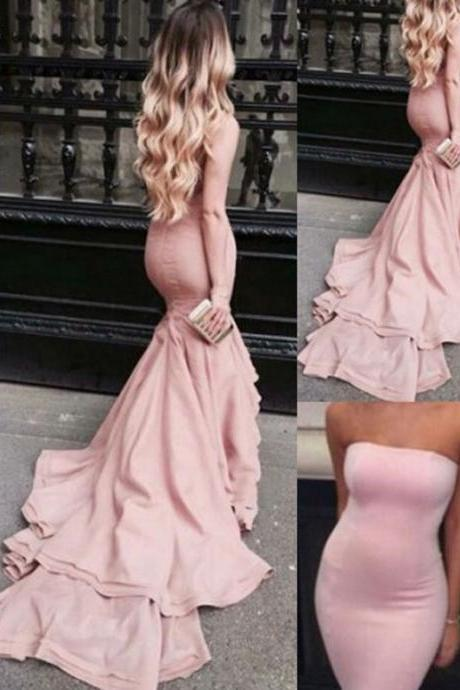 Prom Dress, Prom Dresses, Mermaid Prom Dress, Off-the-shoulder Prom Dress, Pink Prom Dress, Sweep Train Prom Dress, Sexy Prom Dress, Long Prom Dress, Evening Dress, Evening Gown