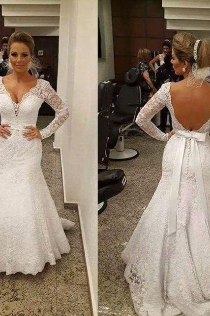 Wedding Dress Wedding Gown Long Sleeve Wedding Dress Lace Wedding Dress V-neck Wedding Dress Backless Wedding Dress Court Train Wedding Dress Mermaid Wedding Dress Bridal Gown