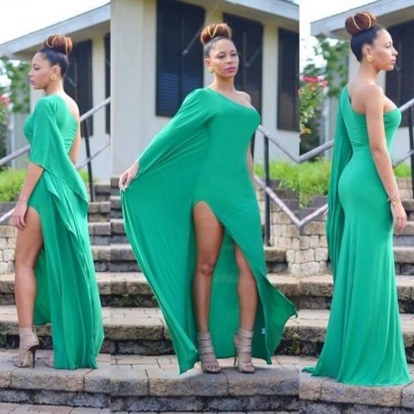Evening Dress, Green Evening Dress, One Shoulder Evening Dress, Long Evening Gown, Simple Evening Dress, Cheap Evening Dress, Side Slit Evening Dress, Custom Made Evening Dress