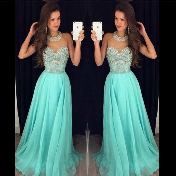 Prom Dress, A-line Prom Dress, Halter Prom Dress, Chiffon Prom Dress With Beading, Crystals Prom Dress, A-line Prom Dress, Open Back Prom Gowns, Hot Sale Prom Dress, Custom Made Prom Dress